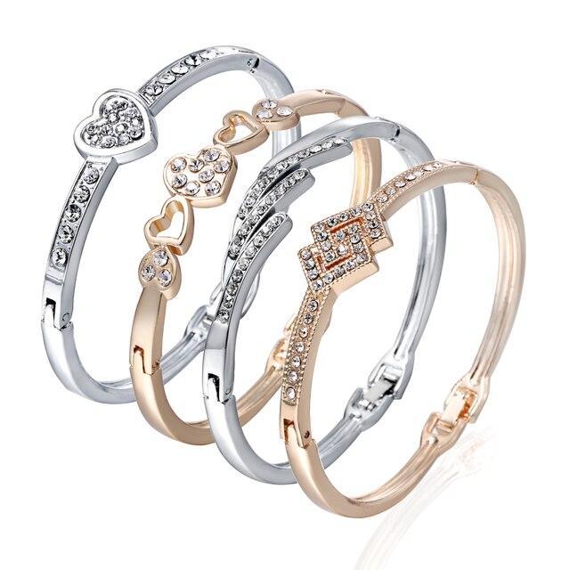 d3bba74839b69 US $1.37 30% OFF|12 Styles Love Heart Bracelets Screw Bangles Women  Stainless Steel Bracelet Bangle Inlay Rhinestone Gold Silver Jewelry  Gift-in Charm ...