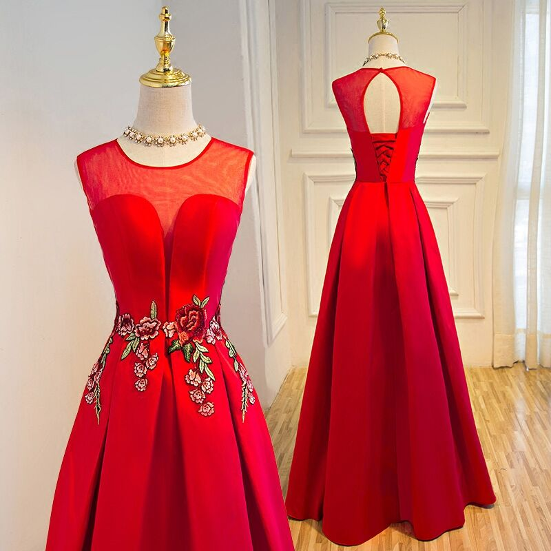 New Elegant Green/Red/Pink Long   Prom     Dresses   2019 Vestido De Festa Embroidery Evening Party Gowns vestidos de noiva