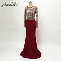 Jersey Fabric Sparkling Beading Handwork Sweetheart Mermaid Prom Dresses With Stones Long Sleeves Spandex Evening Dresses