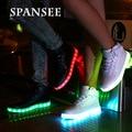Eur25-45 buena calidad de carga usb luminoso zapatillas cestas shoes con luz led up niñas brillantes niños enfant led zapatillas