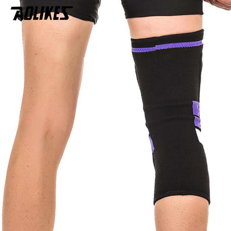 AOLIKES 1 piezas Fitness corriendo rodilla apoyo proteger gimnasio deporte tirantes Kneepad elástico de Nylon del acolchado de compresión de la rodilla Pad