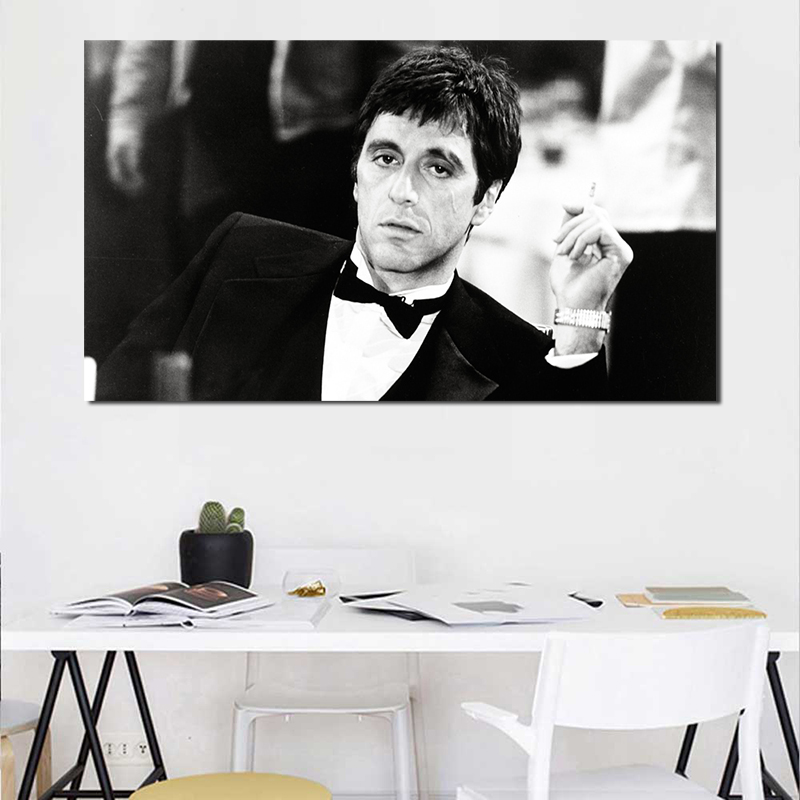 Us 532 34 Offblack White Tony Montana Wallpaper Wall Art Canvas Poster And Print Canvas Painting Oil Decorative Picture Bedroom Home Decor Hd In