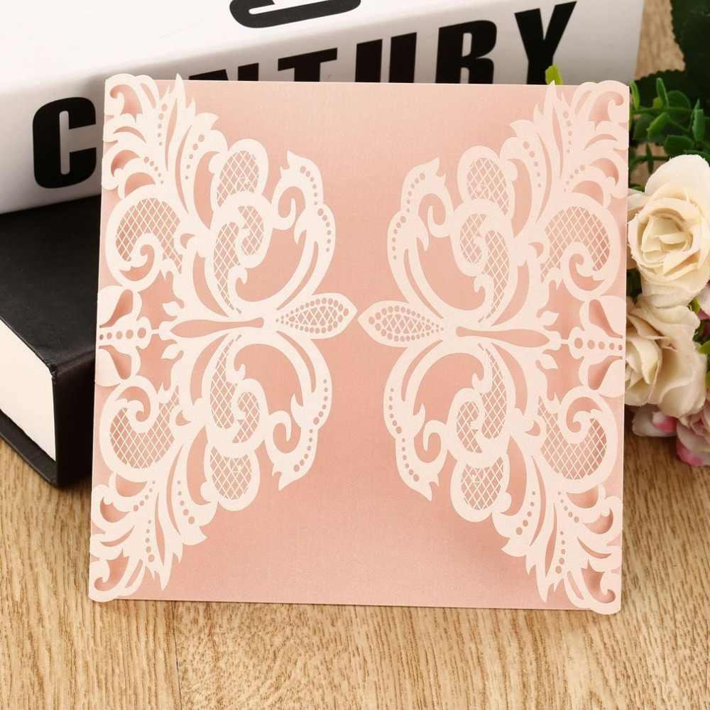 10 ピース花の形の結婚式の招待状カード中空アウト封筒シール招待は結婚式のパーティーの装飾