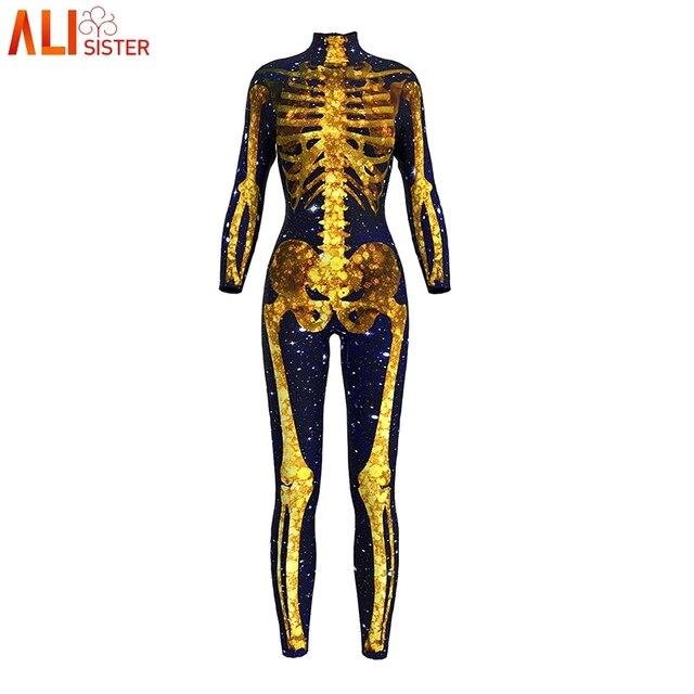 Alisister Sexy Women Bodysuit Black Golden Skull Skeleton Printed