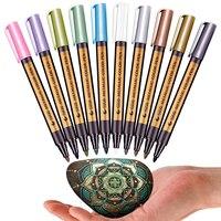 10 pçs/lote 10 cores metálico permanente caneta marcador de tinta de água para o presente de aniversário cartão de cerâmica de vidro plástico papel cor marcador