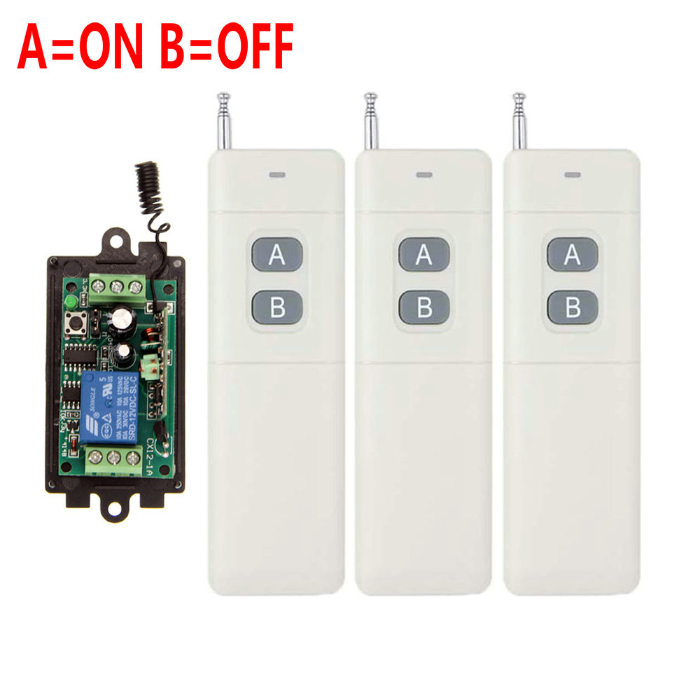 3000m DC 9V 12V 24V 1 CH 1CH RF Wireless Remote Control Switch System,315/433 MHZ 3X Transmitter + Receiver,Latched (A=ON B=OFF) 2pcs receiver transmitters with 2 dual button remote control wireless remote control switch led light lamp remote on off system
