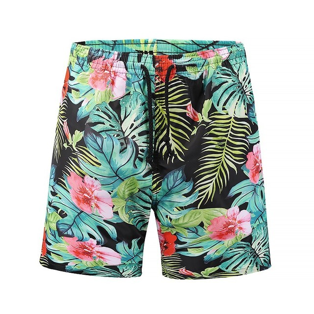 7ed291911c Men Beach Shorts Quick Drying Tropical Style Plant Print Board Shorts Palm  Tree Leaves Male Bermudas Boardshorts Men's Bottoms