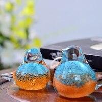 Modern crystal glass birds Decorative arts crafts Coloured glaze birdie Figurines animal Miniatures wedding gifts furnishing