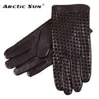 Business Männer Echte Leder Handschuhe Hohe Qualität Ziegenleder Handschuh Herbst Winter Plus Thermische Samt Mode Woven Plaid EM019NC