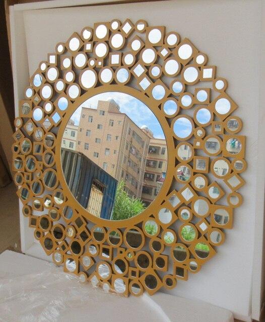 93eb3f4f4 MR 2D0094 madeira escultura rimming círculos espelho de parede em ...