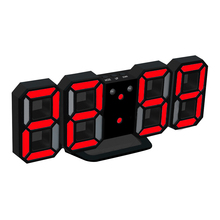 Clock LED Rectangular 3D Digital Clock Table Alarm Watch 24 or 12 Hour Display Home Wall Decoration