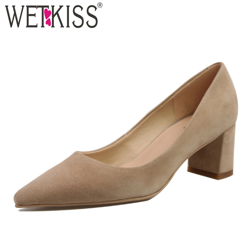 WETKISS The Newest Western Style Fashion Women Pumps Genuine Leather Pointed Toe Shallow Shoes Woman Spring Summer Boat Shoes 2017 spring summer newest round toe