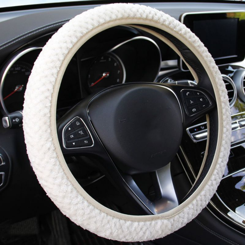 SAND Red Plush Fluffy Steering Wheel Sets Soft East Warm Plush Vehicle Car Steering Wheel Covers