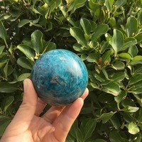 Natural blue apatite stone sphere crystal reiki healing ball