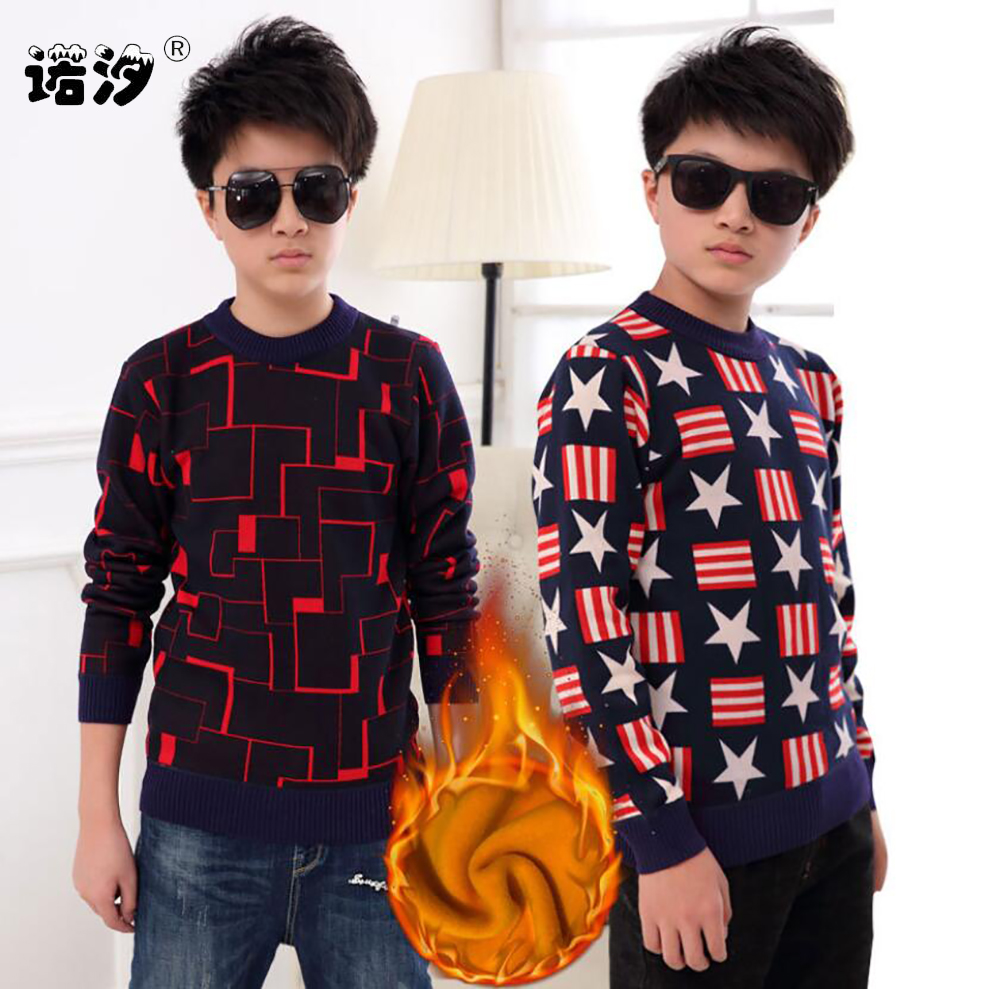 sweaters boy winter warm jacket Pullovers plush inside Knitted sweaters Loose jacket 3-13T children velvet sweaters boys knitted 1