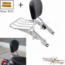 Papanda Chrome Aluminum Motorbike Luggage Rack Detachable Passenger Backrest Sissy Bar for Harley Street Glide Road King