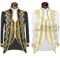 ( Jacket + pants + vest )Gold 2016 Fashion Men suits Slim Fit Tailcoat Groom wedding Prom Dress Suit Embroidered Male For Tuxedo