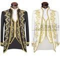 (Jacket + pants + vest) oro 2016 de La Moda de Los Hombres Slim Fit trajes de Frac Novio Traje de boda Vestido de Fiesta Bordado Hombre De Esmoquin
