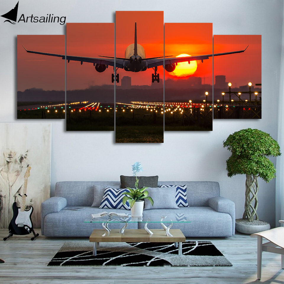 5 Panels Aircraft Poster Prints Canvas Art Airplane Sunset Painting Landscape Wall Pictures For Living Room Home Decor CU-2747C image