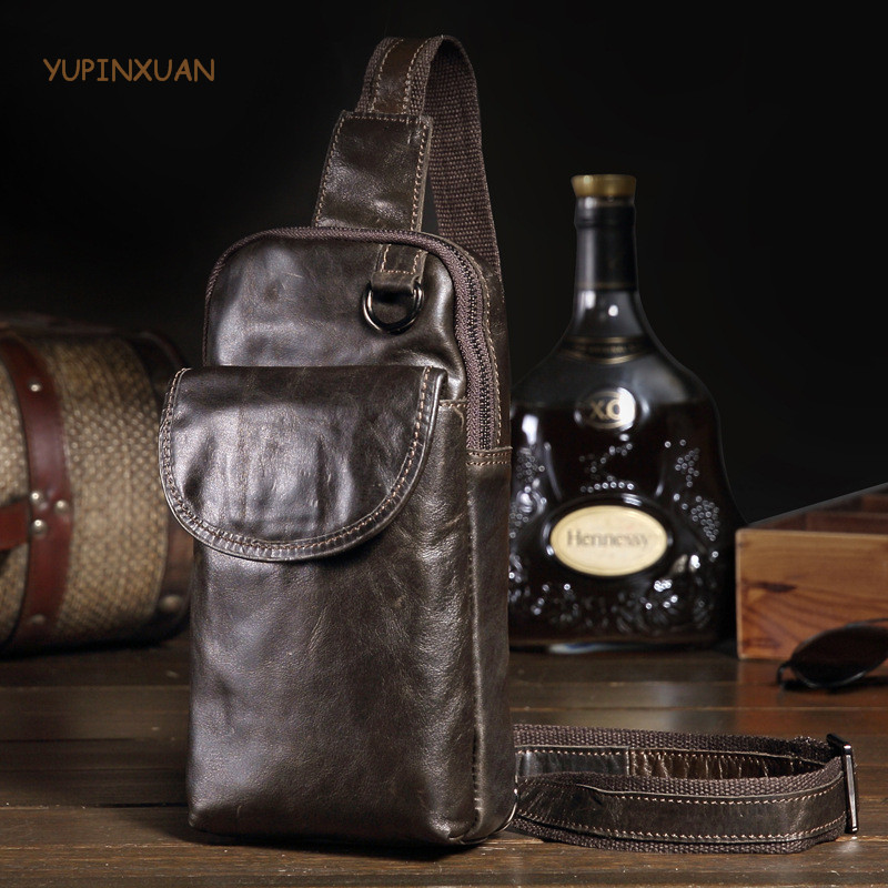 YUPINXUAN Mens Genuine Leather Chest Pack Brown Cow Leather Messenger Bags Korea Simple Crossbody Bag Small Cowhide Travel Packs yupinxuan vintage cow leather messenger bag for men luxury crocodile grain chest bags cowhide crossbody bag chest packs russian