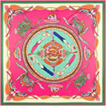 130x130 Women Silk Scarf Square Twill Foulard Dragon Dream Pattern Bandana Brand New 2016