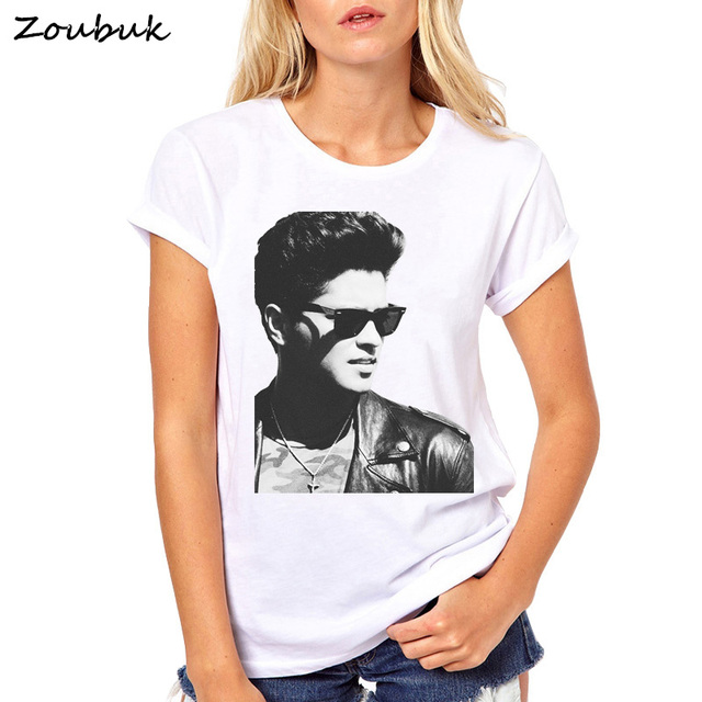 adf7076fdaf0 2018 bruno mars T shirt women tops Fashion summer o-neck t shirts DJ Female  Tees short sleeve women plus size t-shirt