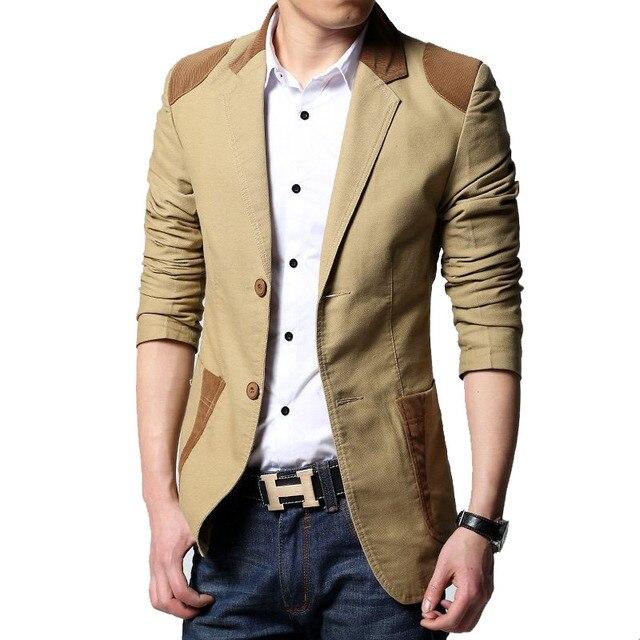 2016 Nova chegada venda Quente Dos Homens Casuais Terno dos homens blazer Slim Fit Homem Jaqueta de Patchwork Manga Longa Plus Size M-5ZL A85