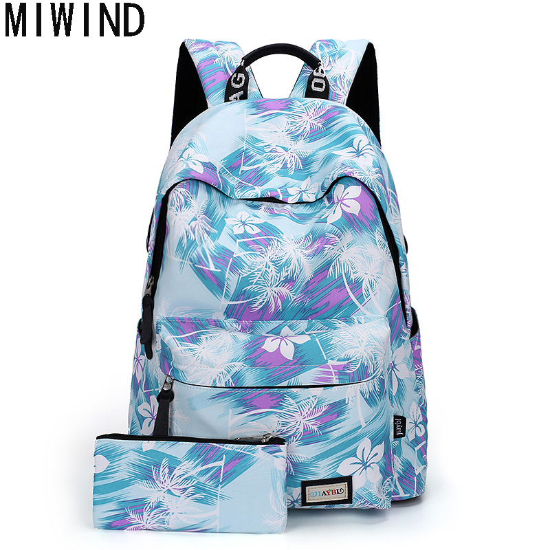 MIWIND Large Capacity Backpack Women Preppy School Bags For Teenagers Printing Book Bag Travel Bags Girls Laptop Backpack TA1090 purple flowers printed dream teenagers backpack fresh preppy adorable sthdents school bags fashion travel hiking computer bag