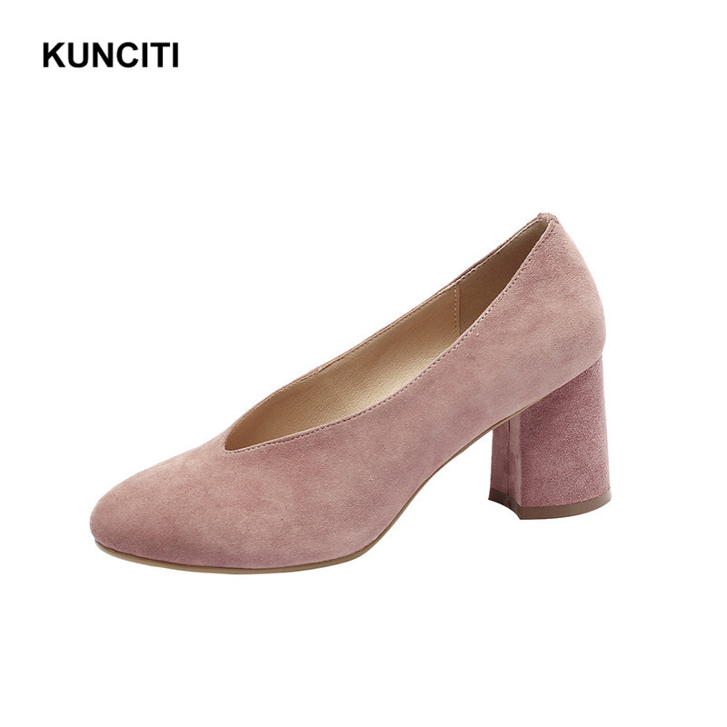 2019 Retro Vintage Ladies Pink Pumps Sexy High Heel Suede Leather Women Shoes Top Quality Office