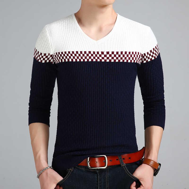 Liseaven Erkek v yaka kazak kazak mens uzun kollu örgü moda slim fit kazak