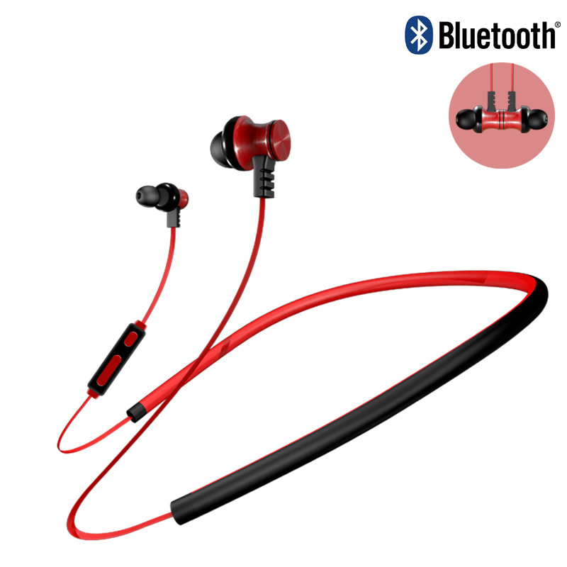HATOSTEPED Metal Sports Bluetooth Headphone SweatProof Earphone Magnetic Earpiece Stereo Wireless Headset for Mobile Phone