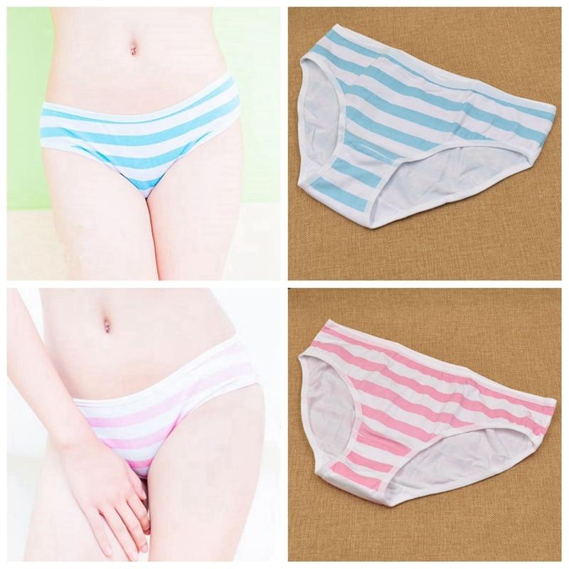 1x женские синие и розовые полосатые трусики, нижнее белье для девочек в стиле