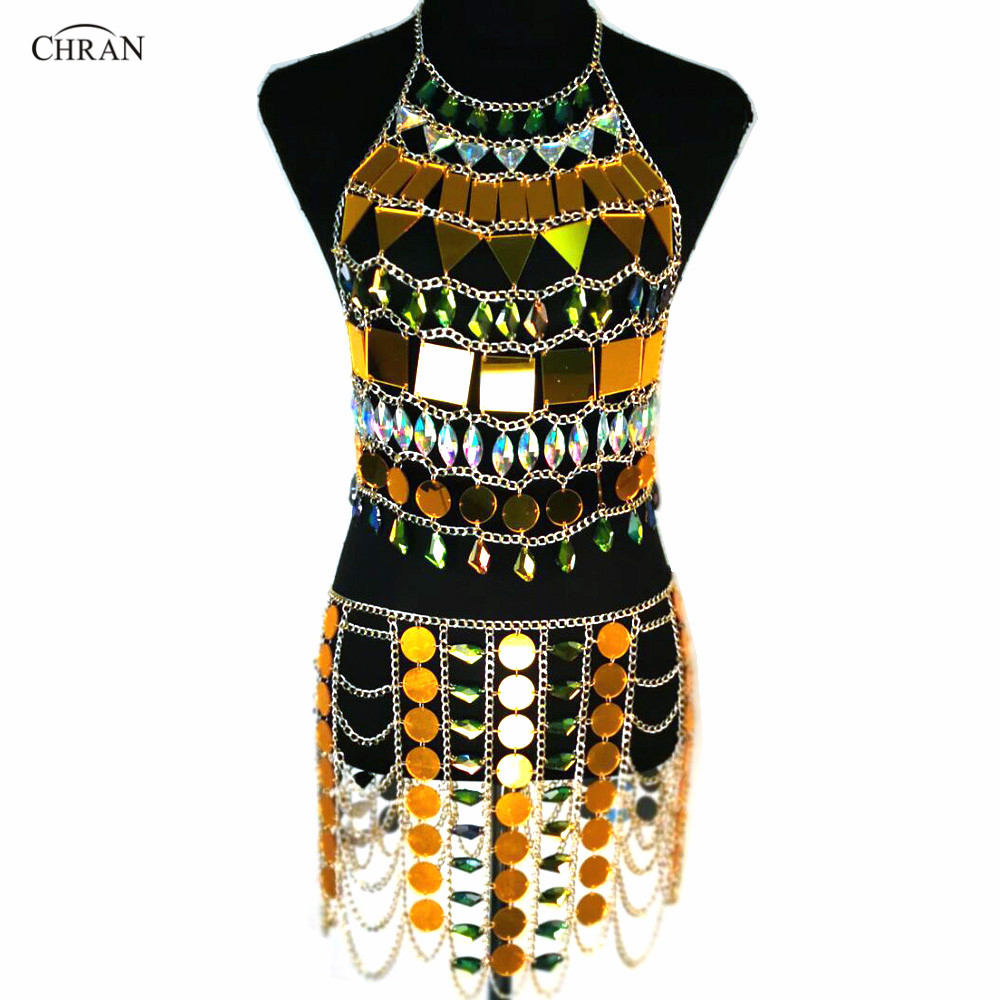 Chran Mirror Perspex Skirt Rave Bra Set EDC Outfit Irridescent Necklace  Bodysuit Chain Crop Tops Costume 90ecc6d252db