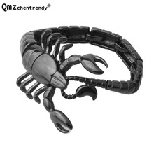 Qmzchentrendy Punk Gothic  Scorpion Chain Bracelet Bangle Gold Black Silver Plated Stainless Titanium Steel Men Animal Jewelry
