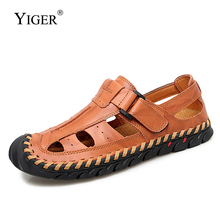 YIGER New Men sandals Rome man outside beach male casual large size genuine leather summer shoes men leisure 289