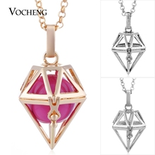 10pcs/lot Vocheng Pregnancy Ball Pendant Necklace for Women Copper Metal 3 Color Hollow out with Stainless Steel Chain VA-253*10