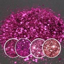 4 colores 1 caja de 10 ML SUPER brillante mezclado polvo de brillo lentejuelas decoración de uñas polvo Rosa rojo sirena efecto manicura ORN. MC03-1