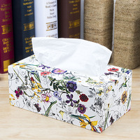 Europe farmhouse style napkin holder tissue box high quality PU leather tissue case box made by hand tissue box PZJH021