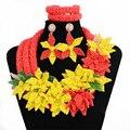 Boda nigeriano beads africanos joyería conjunto cristal mix flor hecho a mano totalmente Sistemas de La Joyería