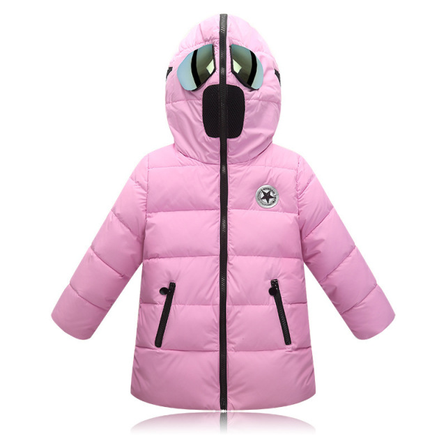 Winter coat Children's down jacket Rain proof Cartoon jacket Boy & Girl Fashion warm coat Children's coat glasses