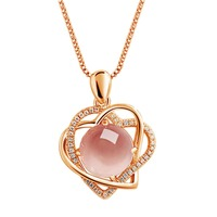 Special Charming Design Korean Women Lady Grape Stone Style Cystal Pendant Plated Heart Shape Wedding Pendants Jewelry