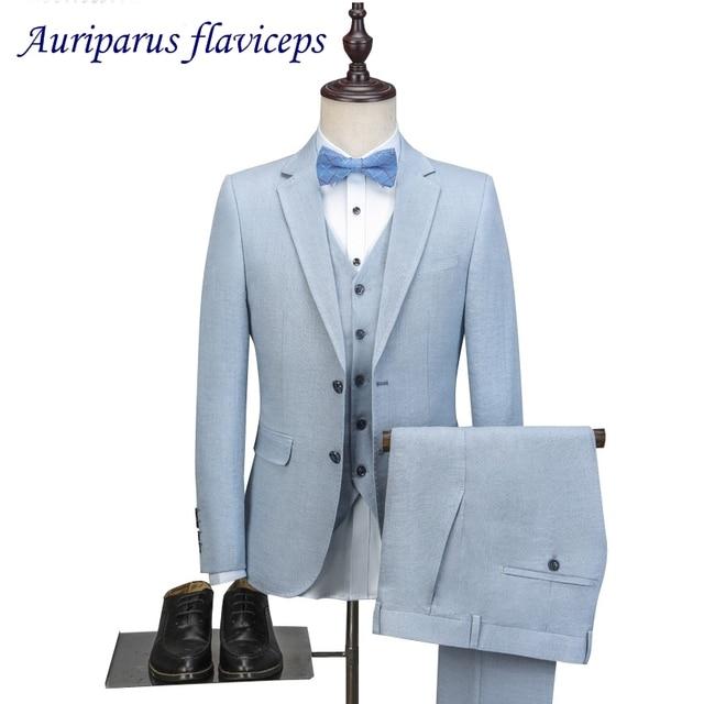 2018 Latest Coat Pant Design Light Blue Linen Men Suit Casual Slim