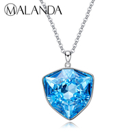 MALANDA Brand 925 sterling silver Necklaces Original Crystal From Swarovski Pendant Necklaces For Women lady Jewelry Accessories