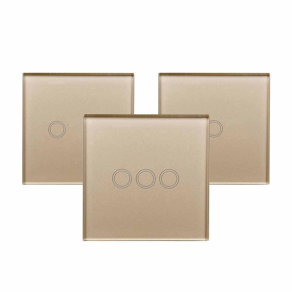 Inteligentny przełącznik dotykowy Panel ue/UK Standard RF 433 MHz sygnał połączenia szkło kryształowe Panel działa z Broadlink RM pro APP sterowania