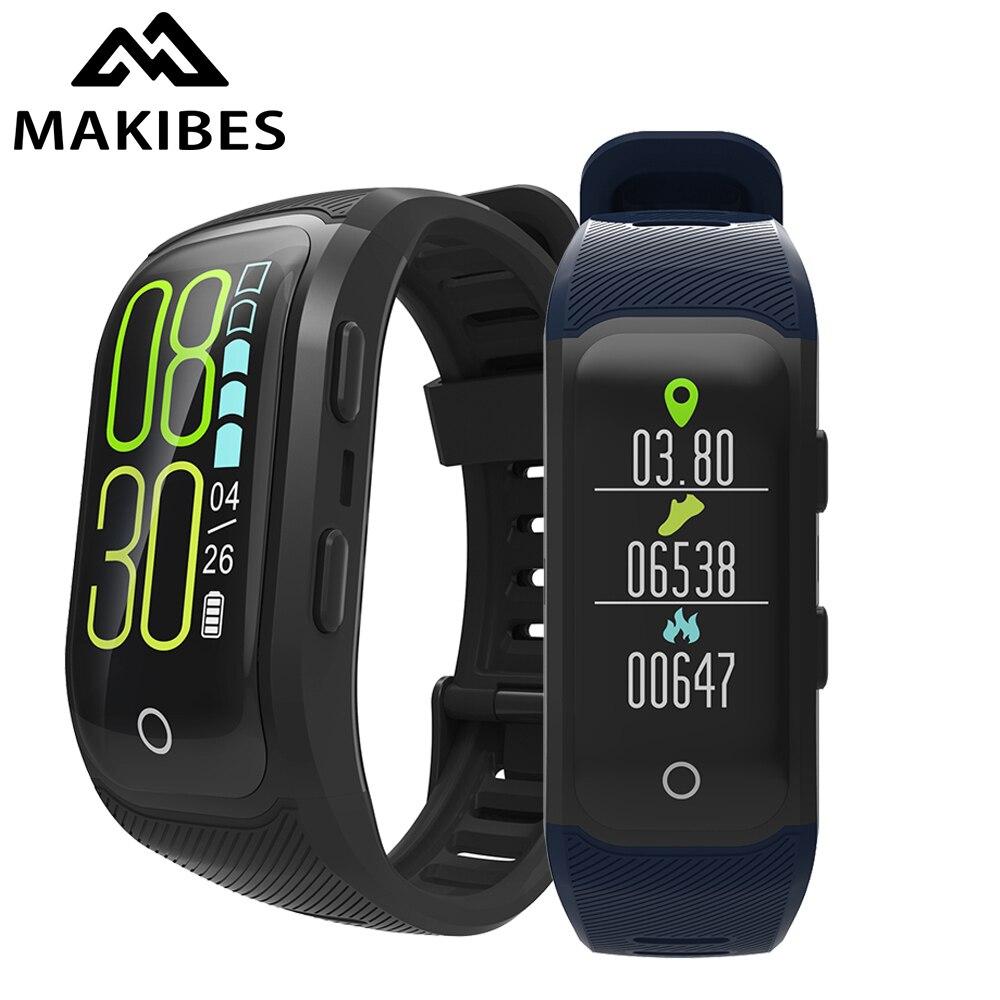 Makibes G03 Plus Écran Couleur Hommes montre Activité bracelet intelligent de Traqueur de Forme Physique IP68 GPS Étanche Moniteur De Fréquence Cardiaque bracelet