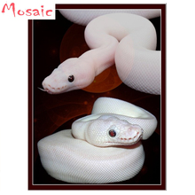 """Полный квадрат 5D DIY Алмазная картина в виде змеи животных """"pyton Regius, белый шар питона"""" вышивка крестиком Мозаика домашний Декор подарок"""