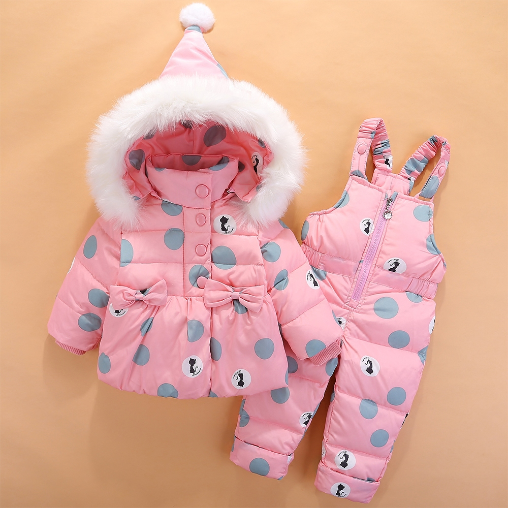 все цены на New Infant Baby Snowsuit Down Cute Cat Toddler Girls Winter Outfits Snow Wear Jumpsuit Bowknot Polka Dot Hoodies Jacket Z72