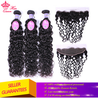 Queen Hair Malaysian Water Wave Bundles With Frontal Human Hair Bundles With Closure Virgin Lace Frontal Closure With Bundles