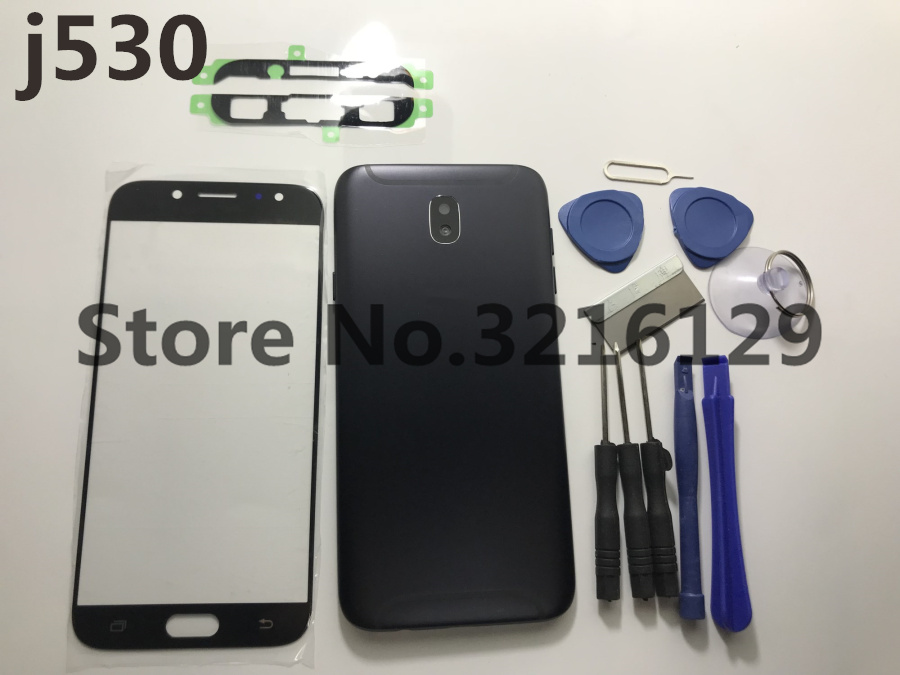 Full Housing Case Middle Frame Rubber Seal Back Cover+Glass Lens Complete Parts For Samsung J5 pro 2017 J530 J530F+Tools