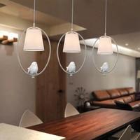 Vintage Pastoral Pendant Lights Led Cloth Lampshade Pendant Lamp Bird Angel Restaurant Bedside Bar Corridor Window Hanglamp